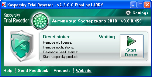 2. Close your Kaspersky product. 3. Эта программа сбрасывает триал